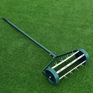 SPSUPE 18-inch Steel Material Rolling Lawn Aerator Spike Soil Aeration Deep Watering for Lawns Garden Yard Rotary Push Tine Heavy Duty (Silver)