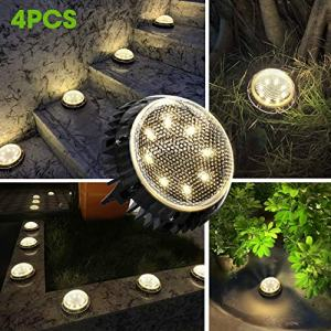 Jack & Rose Solar Ground Lights Outdoor Pathway Lights Fairy Garden Lights Solar Powered IP67 Waterproof 8 LED Disk Light for Yard Deck Lawn Patio Driveway (Warm Light, 4 Pack)