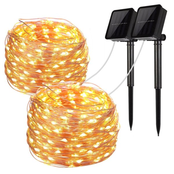 Solar String Lights, 2 Pack 100 LED Solar Fairy Lights 33 Feet 8 Modes Copper Wire Lights Waterproof Outdoor String Lights for Garden Patio Gate Yard Party Wedding Indoor Bedroom Warm White by LiyanQ
