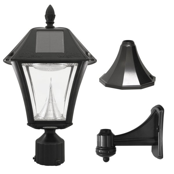 "Gama Sonic GS-105FPW-BW Baytown II, Outdoor Solar Light and 3"" Pole Pier & Wall Mount Kits, Lamp Only, Bright White LED, Black"