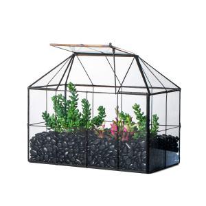 NCYP Reinforced Glass Terrarium Geometric, Black Grid House Shape Decor, Succulents Cacti Air Plants Box Planter, Miniature Container, Modern Tabletop Centerpiece (No Plants)