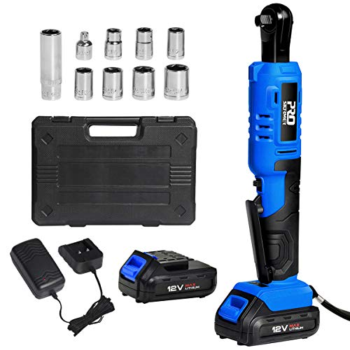 """Cordless 3/8"""" Ratchet Wrench Set with 2PCS 2000mAh Lithium-Ion Batteries and Charger, PROSTORMER 12V Power Electric Ratchet Kit with 9-Piece Wrench Sockets and Toolbox"""