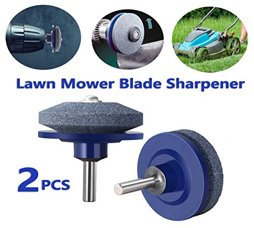DB Lawn Mower Blade Sharpener, Lawnmower Sharpener Universal Fit for Power Drill & Hand Drill, Lawnmower Blade Grinder, Wheel Stone for Lawn Mower, Sharpening Mower Blades (2PCS)