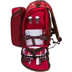 """apollo walker 2 Person Red Picnic Backpack with Cooler Compartment Includes Tableware & Fleece Blanket 45""""x53""""(red)"""