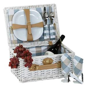 Picnic Plus Boothbay 2 Person Willow Picnic Basket Set With Plates Flatware Wine Glasses Cotton Napkins Corkscrew (14 Pcs Included)