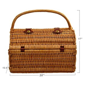 Picnic at Ascot Yorkshire Willow Picnic Basket with Service Guarantee: Lifetime guarantee components