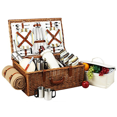 Picnic at Ascot Dorset English-Style Willow Picnic Basket with Service for 4, Coffee Set and Blanket - Santa Cruz