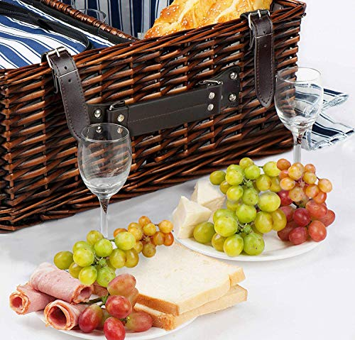 Picnic Basket Set for 4 Person | Insulated Picnic Hamper Set INSULATED WICKER PICNIC SET: Unmatched in High quality and Sturdiness - HIGH QUALITY SET INCLUDES: 4 x CERAMIC Plates, 4 x Stainless Metal Forks, 4 x Stainless Metal Knives, 4 x Stainless Metal Spoons, 4 x Wine Glasses, Salt and Pepper Shakers, 1 x Bottle Opener Try our Line of: willow picnic basket, xl picnic basket, wine picnic basket set, wine picnic basket, wine basket, wine and cheese picnic basket, wine and cheese basket.