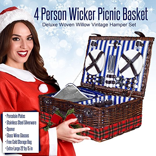 4 Person Wicker Picnic Basket | Deluxe Woven Willow Vintage Picnic Baskets Package deal Dimensions: 22.zero x 15.three x 8.three inches