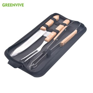 3pcs Stainless Steel BBQ Tool set Barbecue Grill Sets Oak