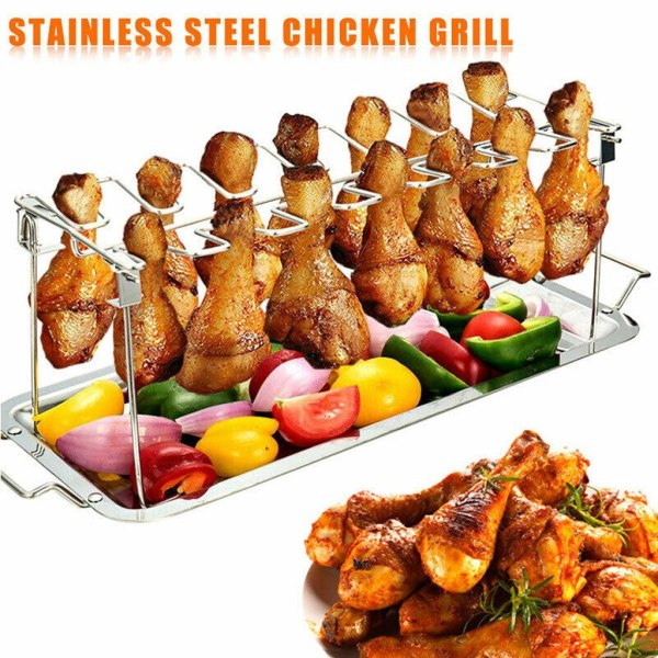 Chicken Wing Leg Rack Grill Holder with Drip Pan for BBQ