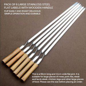 Stainless Steel Shish Kebab BBQ Fork Set Long Flat Wood