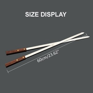 5Pcs/Set Stainless Steel Wide BBQ Skewers Long Wood Handle