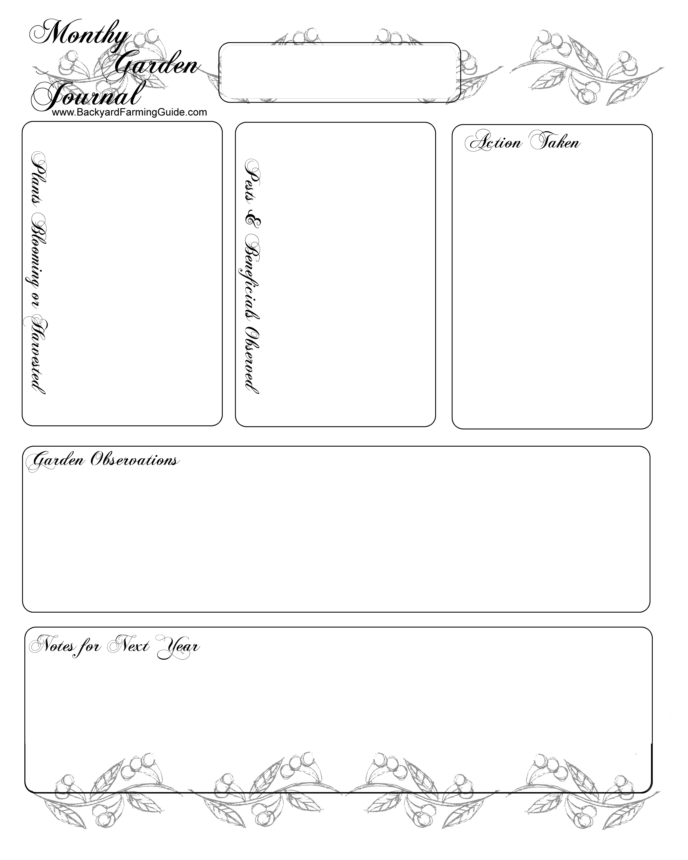 Free Printable Gardening Journal Pages