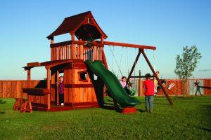 maverick, cabin, lemonade, porch, wooden swing set, swing set, swings, slide, swing set for kids, kids, children, play, playground, playset, sets, accessories, backyard swing set