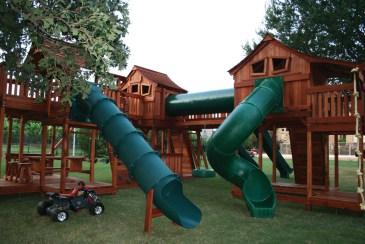 fort stockton, swing set, wooden swing set, swingset, wood swing set, bridged playset, twister slide, slides, crawl tubes, swings, picnic table
