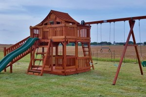 fort stockton, cabin, cargo net, climber, wooden swing set, swing set, swings, slide, swing set for kids, kids, children, play, playground, playset, sets, accessories, backyard swing set