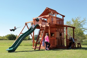 fort stockton, cabin, porch, lemonade, wooden swing set, swing set, swings, slide, swing set for kids, kids, children, play, playground, playset, sets, accessories, backyard swing set