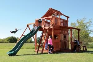 fort stockton, cabin, porch, lemonade, wooden swing set, swing set, swings, slide, swing set for kids, kids, children, play, playground, playset, sets, accessories, backyard swing set