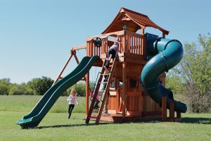 fort stockton, cabin, twister slide, wooden swing set, swing set, swings, slide, swing set for kids, kids, children, play, playground, playset, sets, accessories, backyard swing set