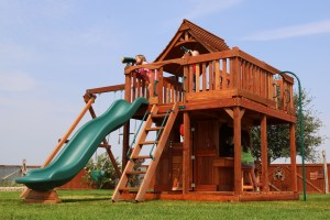 maverick, cabin, firemans pole, lemonade, wooden swing set, swing set, swings, slide, swing set for kids, kids, children, play, playground, playset, sets, accessories, backyard swing set