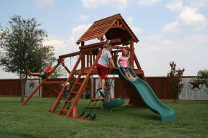 angle leg swing sets, fort concho, rope climber, tire swing, rock wall, wooden swing set, swing set, swings, slide, swing set for kids, kids, children, play, playground, playset, sets, accessories, backyard swing set