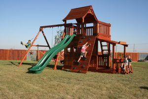 mustang, cabin, rock wall, wooden swing set, swing set, swings, slide, swing set for kids, kids, children, play, playground, playset, sets, accessories, backyard swing set