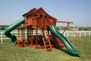 fort stockton, tri-level, cabins, rock wall, wooden swing set, swing set, swings, slide, swing set for kids, kids, children, play, playground, playset, sets, accessories, backyard swing set