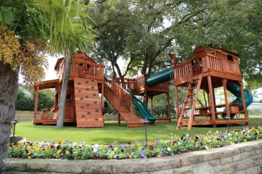 Fort Stockton, tree deck, ramp, twister slide, cabin, rock wall, wooden swing set, swing set, swings, slide, swing set for kids, kids, children, play, playground, playset, sets, accessories, backyard swing set