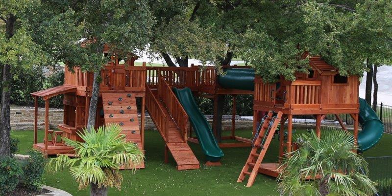 fort stockton, bridge, tree platform, tree house, playset, swing set, backyard playset