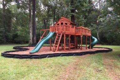 Fort Stockton Swing Set with Tree Deck with swing set, playset, slide, twister slide, swings, cabin