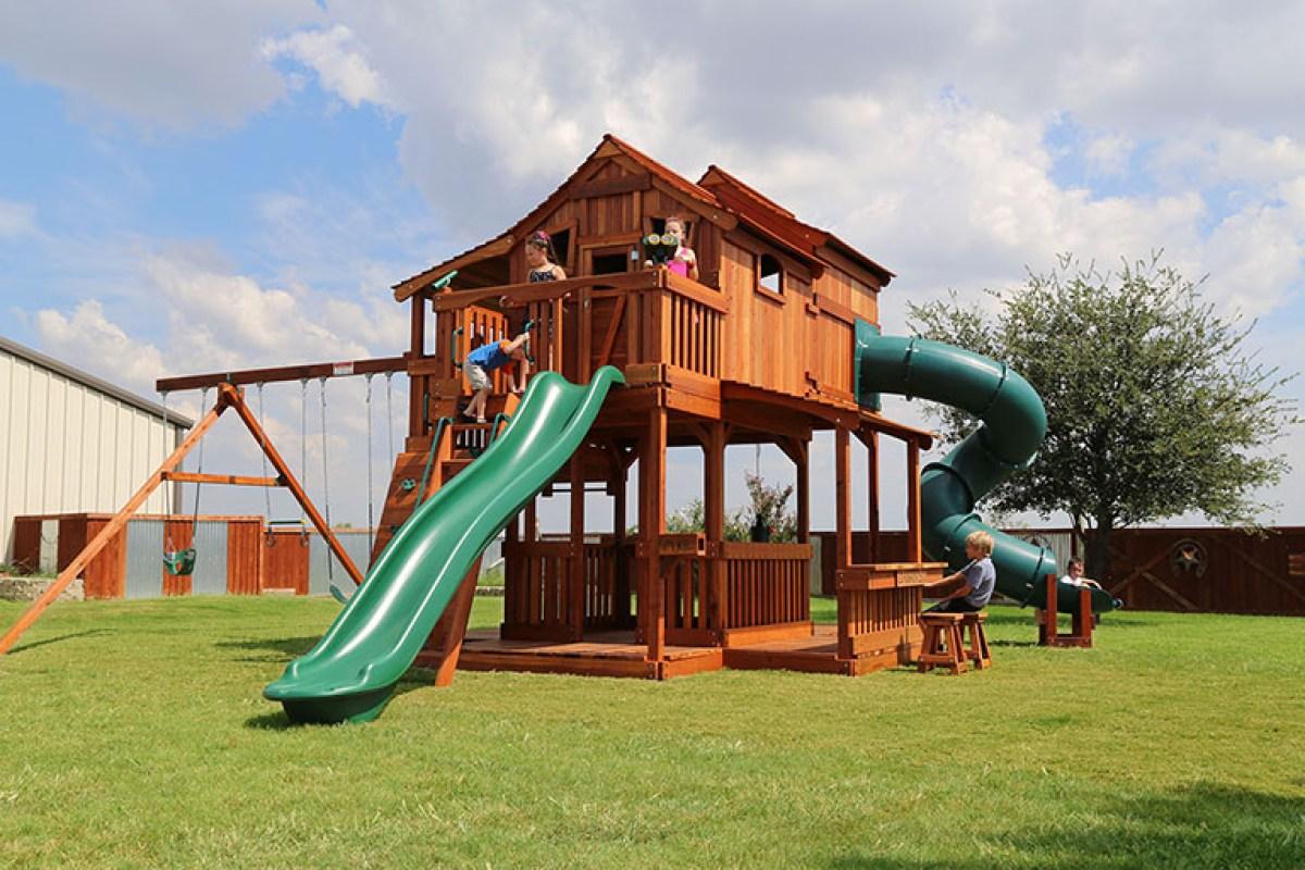 normandy estates plano, tri-level playset, redwood playset, rock wall  playset, - Wooden Swing Sets - High Quality, USA-Made - Backyard Fun Factory
