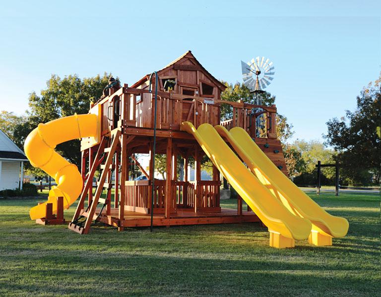 fort ticonderoga, swing set, twister slide, slides, climbers, rockwall, swings, cabin, fort, playset, backyard swing set