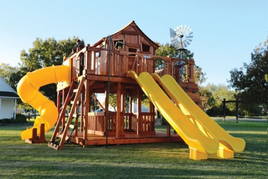 Fort Ticonderoga swing set with twister slide, slides, climbers, rockwall, swings, cabin, fort, playset, backyard swing set