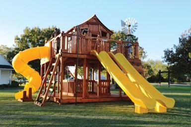Fort Ticonderoga swing set with twister slide, slides, climbers, rockwall, swings, cabin, fort, playset, backyard swing set