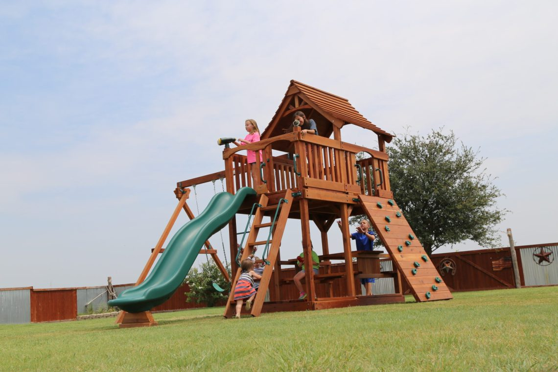 Our Maverick line of redwood playsets feature a 6' deck height, curved roof design, and sunbursts in the gables. Upgrades include everything from a lookout shack to a boardwalk.