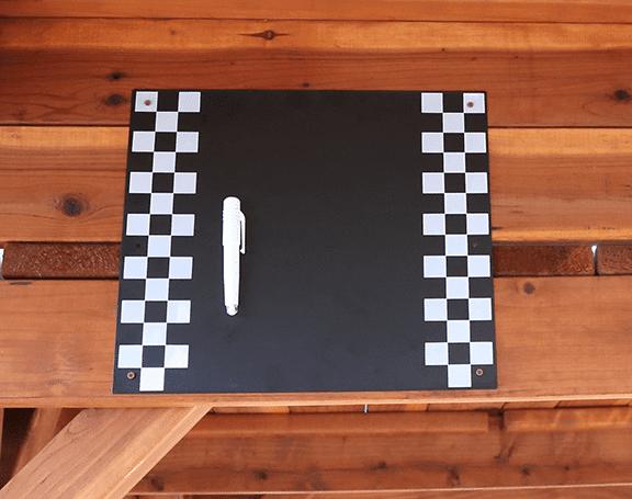 chalkboard, chalk board, outdoors, wooden playset, magnetic, chalk, chalk holder