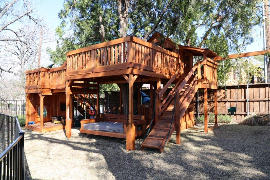 Swing Sets Bridged to Tree Decks | Backyard Fun Factory