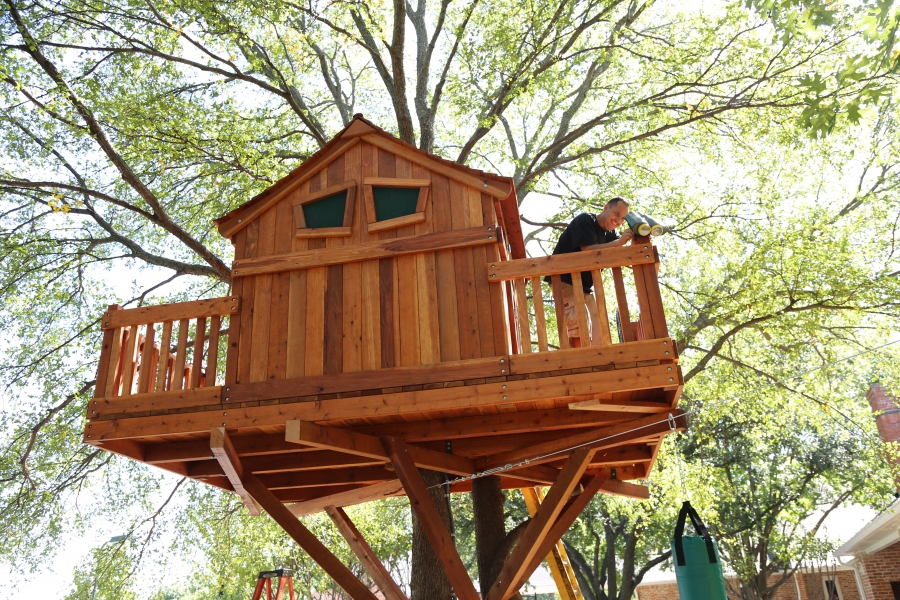 cargo net, custom treehouse, deck, obstacle course, treehouse