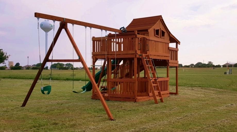 adventure ramp, cabin, fort stockton, playset, porch, slide, swing beam, swing set, outdoor playset