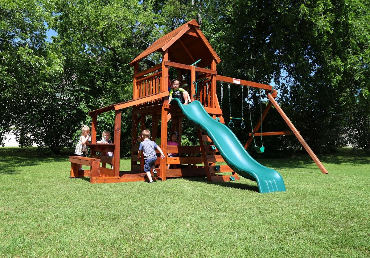 belt swings, corral, ladder, lemonade, lower porch, playset, porch, slide, swing set, trapeze bar, wrangler, outdoor playset, backyard, children
