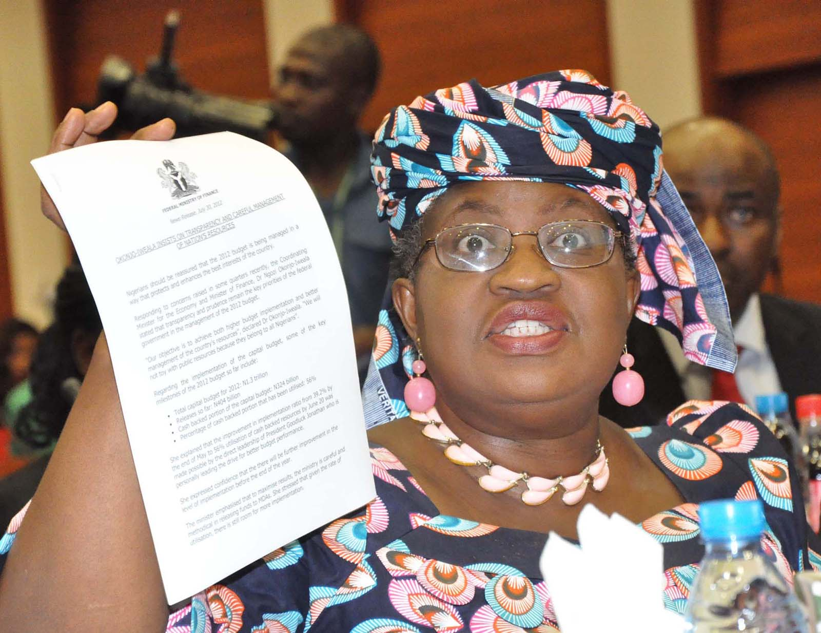 PIC 23. MINISTER OF FINANCE,  DR NGOZI OKONJO-IWEALA, DISPLAYING  A DOCUMENT AT THE JOINT  SENATE COMMITTEE ON APPROPRIATION AND FINANCE INTERACTIVE SESSION ON THE  IMPLEMENTATION OF 2012 BUDGET IN ABUJA ON THURSDAY (2/8/12).