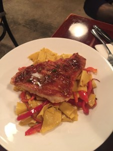 Alor special sweet and sour red snapper with pasta ribbons and red peppers