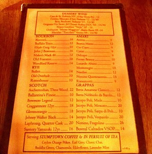 Frankies Dessert Drink Menu