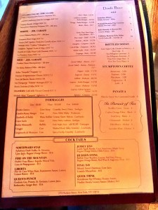 Frankies Drink and Cheese Menu
