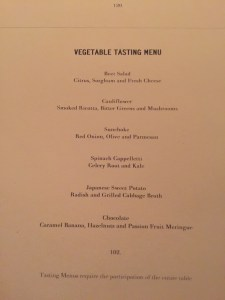 Gramercy Tavern Vegetable Tasting Menu