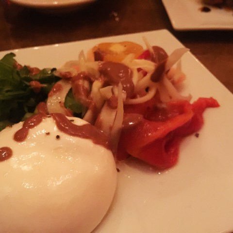 bin 5 burrata and heirloom tomato