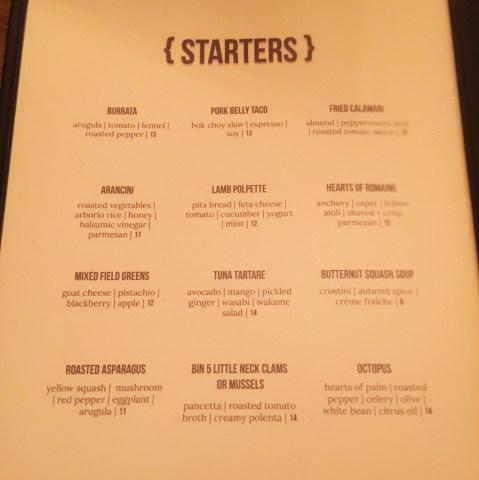 bin 5 appetizer menu