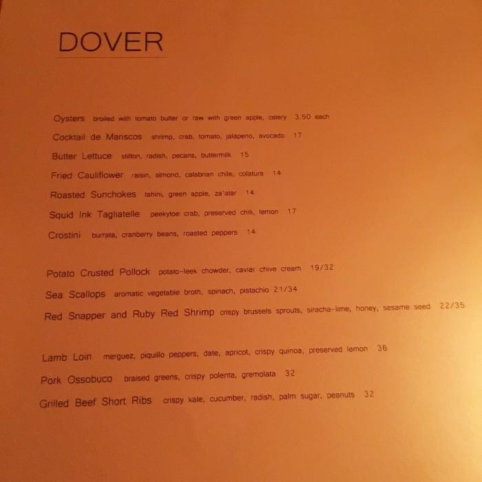 Dover Menu