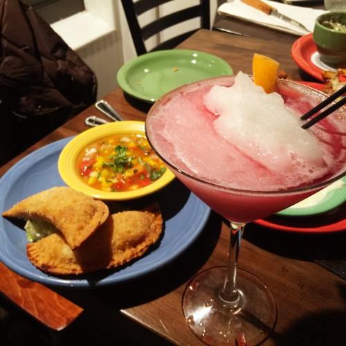 Victory Cantina Samantha Sunrise Margarita and Chicken Empanadas
